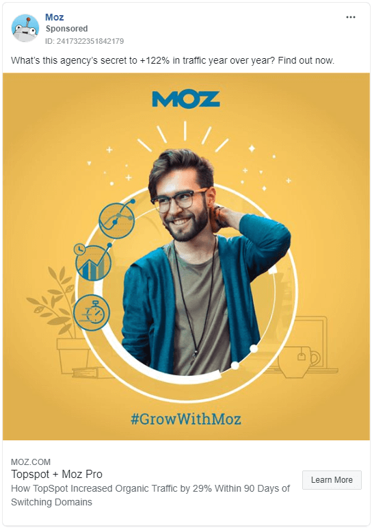 Colorful Example of Facebook Ad from Moz