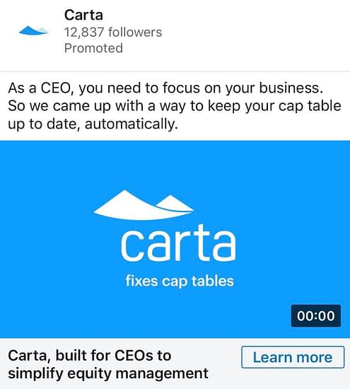 Exact Match Copy in LinkedIn Ad