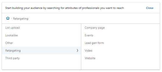 screenshot of different retargeting options for LinkedIn ads