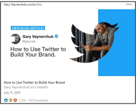 LinkedIn Article Header Image Example from Gary Vee