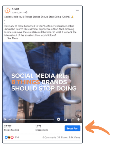 """Example of the Facebook """"Boost Post"""" Button"""