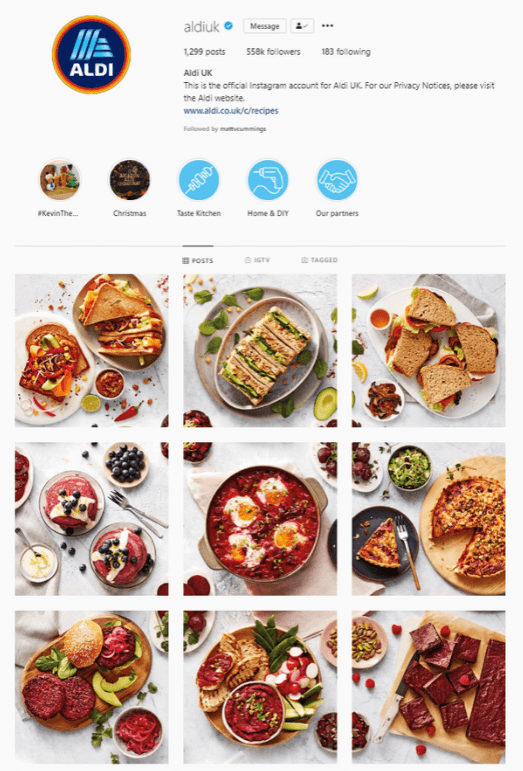 Aldi's Instagram Homepage and Grid
