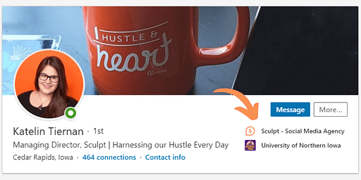 example of employee linking their LinkedIn Profile to the Company Page