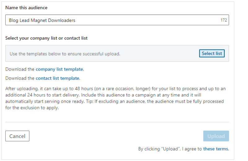 screenshot of how to upload a list in LinkedIn Campaign Manager