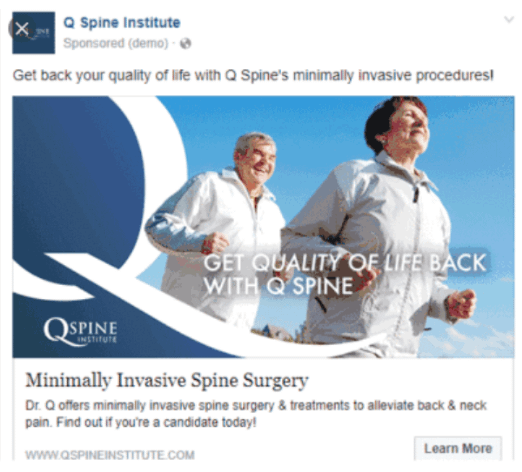 Example of Facebook ad by Q Spine Institute
