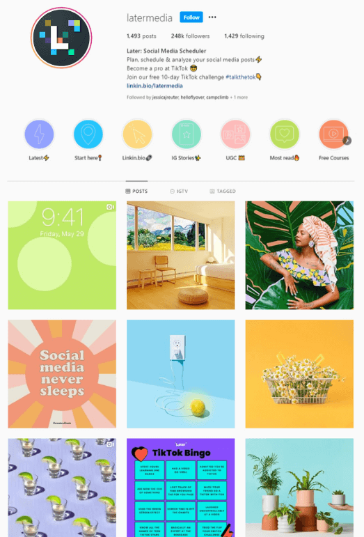 Later's Colorful Instagram Account