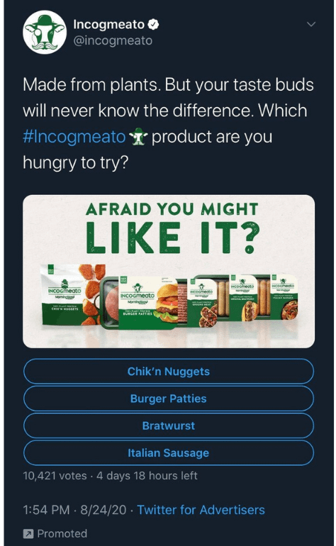 Example of Sponsored Twitter Post from Incogmeato