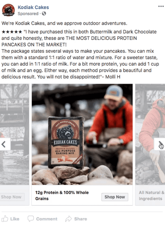 Shop Now Facebook Ad Example from Kodiak Cakes