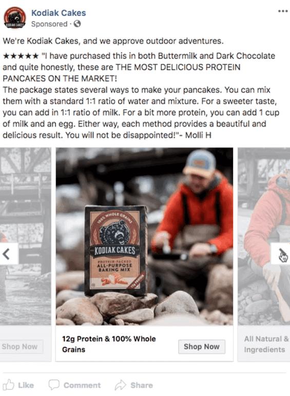 Shop Now Facebook Ad Example from Kodiak Cakes