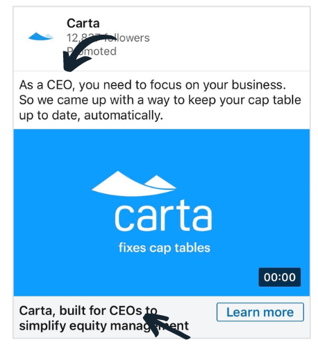 example of a LinkedIn ad that uses exact title matching