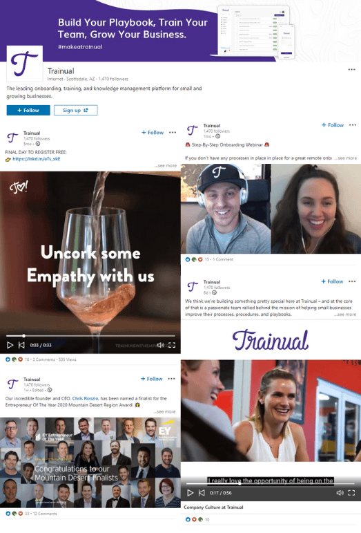 Examples from Trainual's LinkedIn Company Page